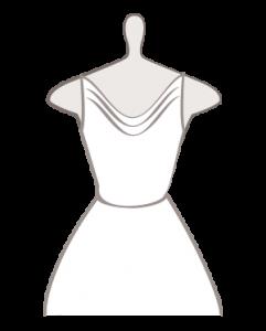 Kleid mit Wasserfall Ausschnitt