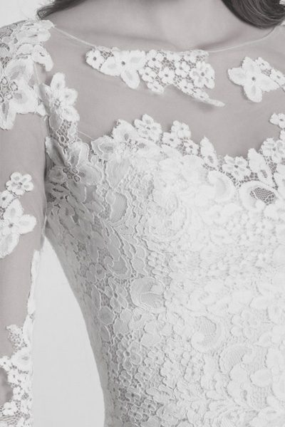 langärmliges Spitzen-Top - Brautmode