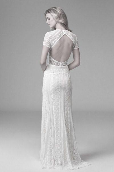 Hochzeitskleid H-Linie mit Rückenausschnitt