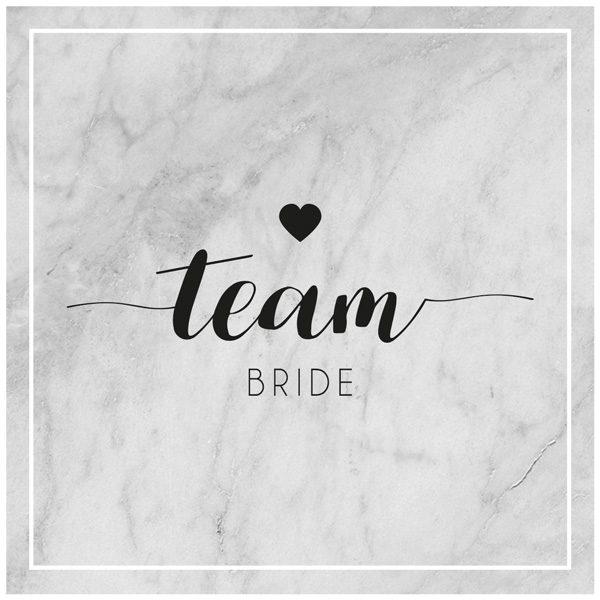 Team Bride auf Marmorhintergrund