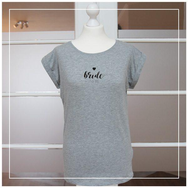 Graues Shirt für Junggesellinnenabschied - Bride to be in schwarz