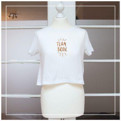"""weißes T-Shirt mit Aufdruck """"Team Bride"""" kupferfarbend"""
