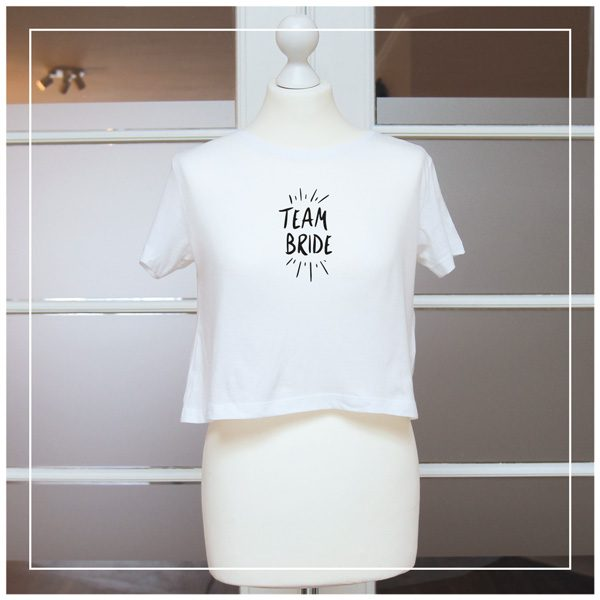 weißes, kurzes Team-Bride T-Shirt für JGA