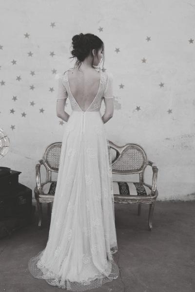 Hochzeitskleid mit tiefem Rücken und grober Spitze