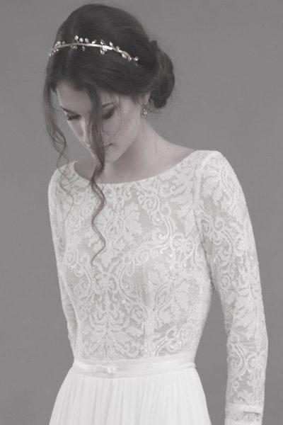 langärmliges Hochzeitskleid im Vintagestil
