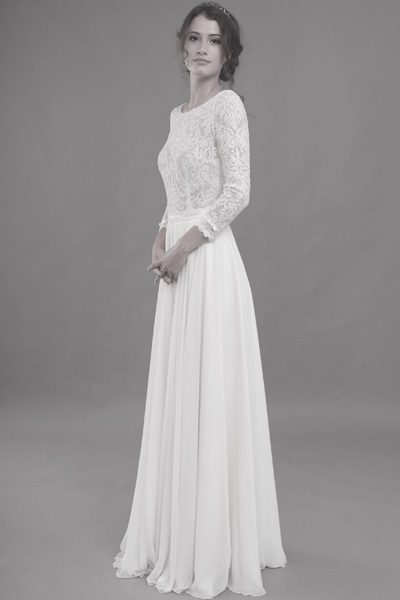 schmal geschnittenes Hochzeitskleid - Vintage-Look