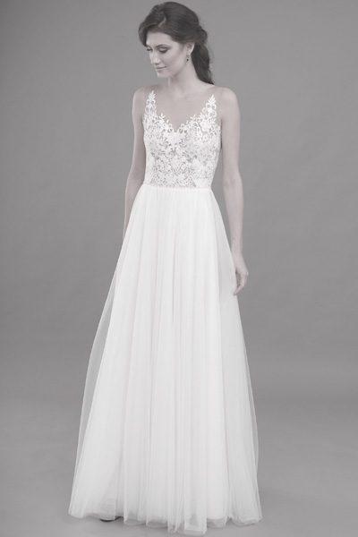 Kleid, transparenter Ausschnitt, Rock aus Softtüll