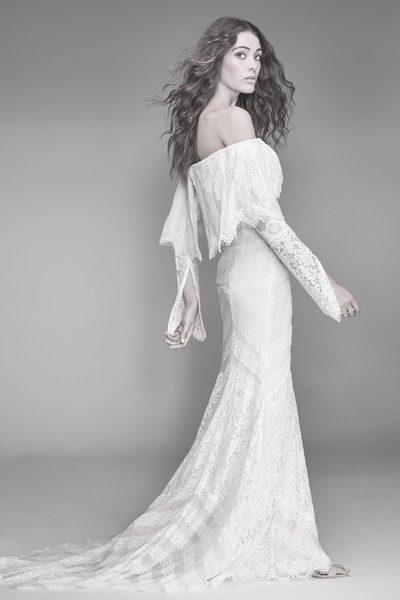 Hochzeitskleid mit Trompeten-Ärmeln im Bohemian Style