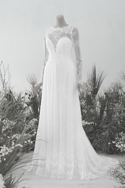 Vintage-Hochzeitskleid mit langen Ärmeln