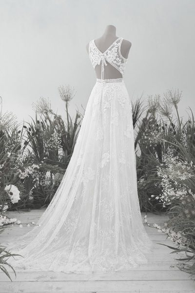 Boho-Brautkleid mit Schleife am Rücken