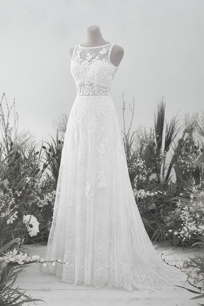 Boho-Hochzeitskleid mit feiner Spitze