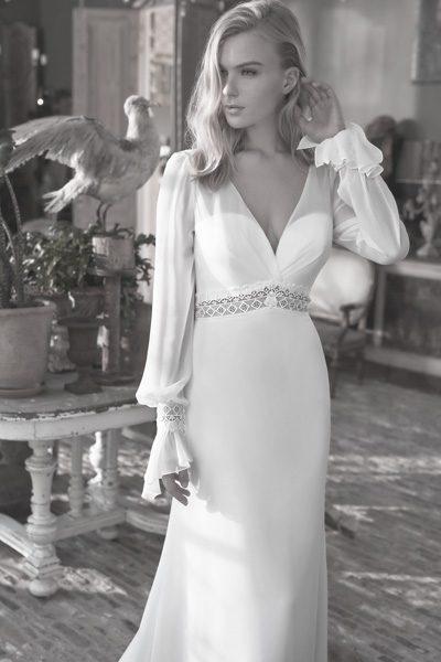 Langärmliges Hochzeitskleid Vintage-Look