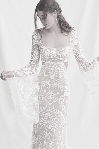 Hochzeitskleid mit Trompeten-Ärmeln