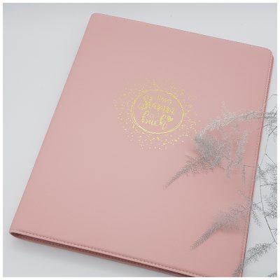 Rosanes, modernes Stammbuch aus Leder mit Goldprägung