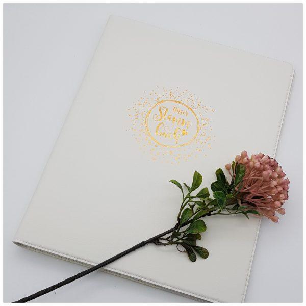 Modernes Stammbuch in DIN A4 aus weißem Leder
