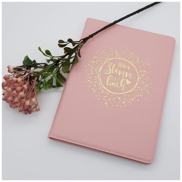 Stammbuch in rosa mit Aufdruck in gold