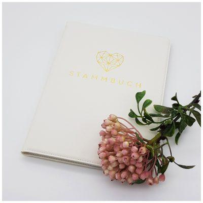 weißses Stammbuch aus Kunstleder