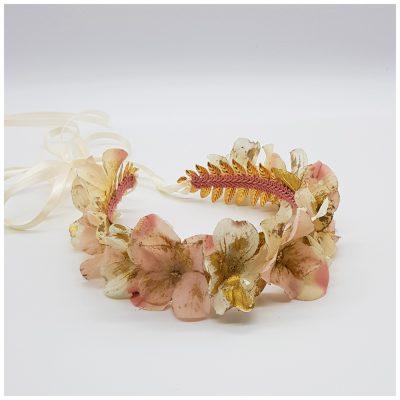 Headpiece mit weißen und rosa Blüten